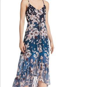 Nanette Lepore Atlas Blue Floral Ombré High/Low